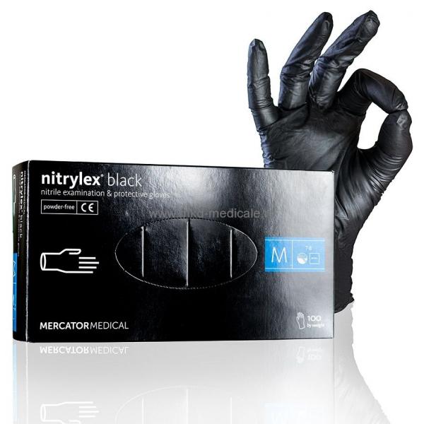 Manusi de examinare din nitrylex, nuanta neagra, cutie 100 bucati, marimea M 1