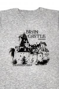 Tricou cu imprimeu Castelul Bran, nuanta gri, ideal suvenir1