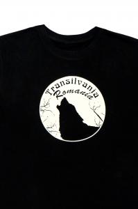 Tricou imprimat Lup Transilvania, nuanta neagra, ideal cadou1