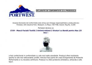 Mască facială din țesătură antimicrobiană, reutilizabilă, cu 2 straturi1