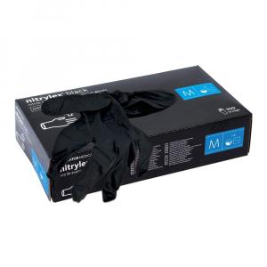 Manusi de examinare din nitrylex, nuanta neagra, cutie 100 bucati, marimea M2