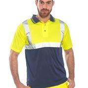 Tricou Polo galben cu insertii reflectorizante S4790