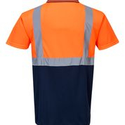 Tricou Polo portocaliu cu insertii reflectorizante S4791