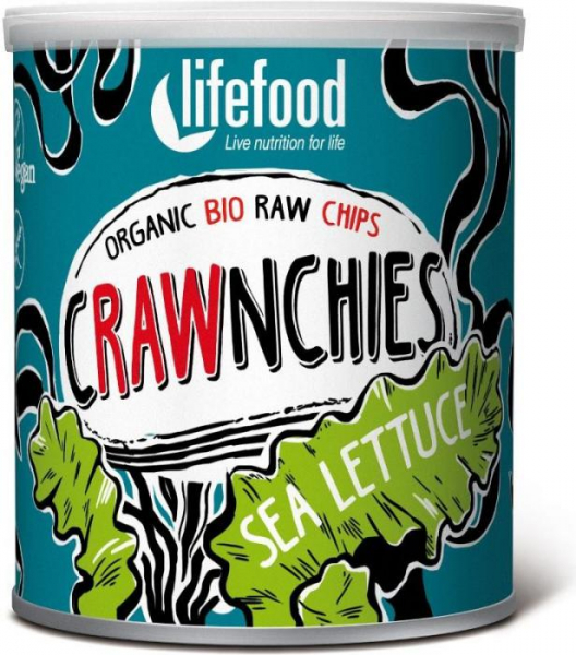 Chips Crawnchies cu sea lettuce (alge) raw bio 30g 0