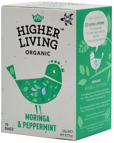 Ceai MORINGA si MENTA eco, 15 plicuri, Higher Living 0