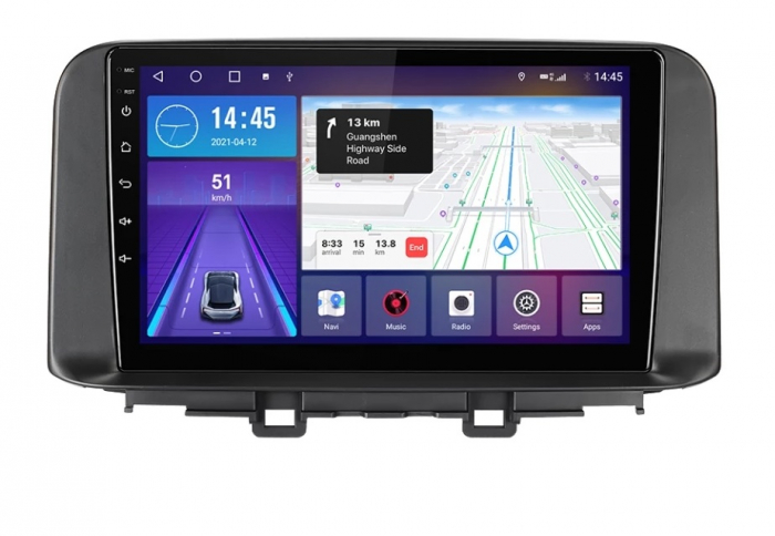 Navigatie Hyundai Kona ( 2018 + ) , Android , Display 9 inch , 2 GB RAM si 32 GB ROM , Internet , 4G , Aplicatii , Waze , Wi Fi , Usb , Bluetooth , Mirrorlink [1]