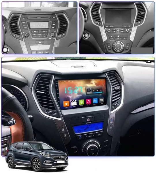 Navigatie Hyundai Santa Fe ix 45 ( 2012 - 2017 ) , Android , Display 9 inch , 2GB RAM +32 GB ROM , Internet , 4G , Aplicatii , Waze , Wi Fi , Usb , Bluetooth , Mirrorlink 2