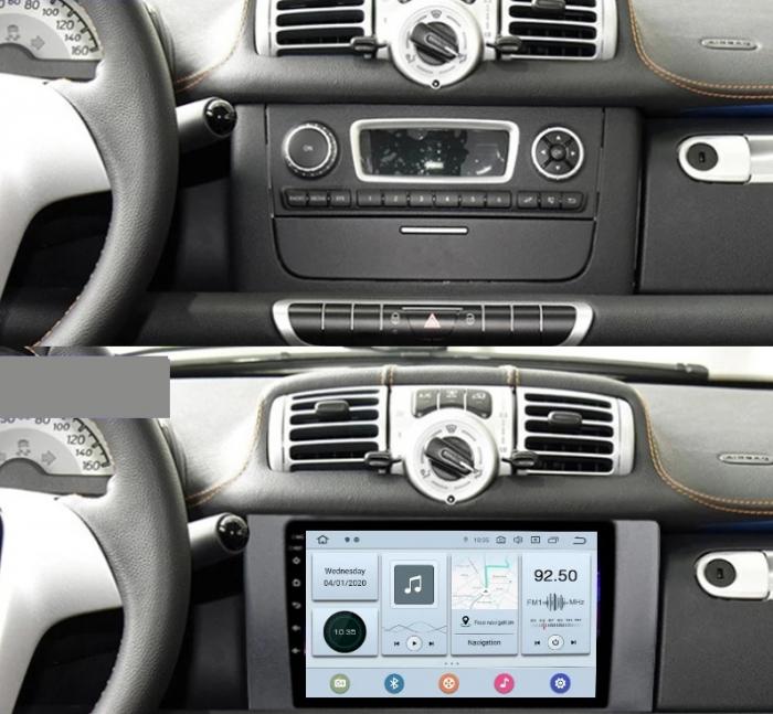 Navigatie Smart ForTwo ( 2010 - 2015 ) Android , Display 9 inch , 2 GB RAM si 32 GB ROM , Internet , 4G , Aplicatii , Waze , Wi Fi , Usb , Bluetooth , Mirrorlink [2]