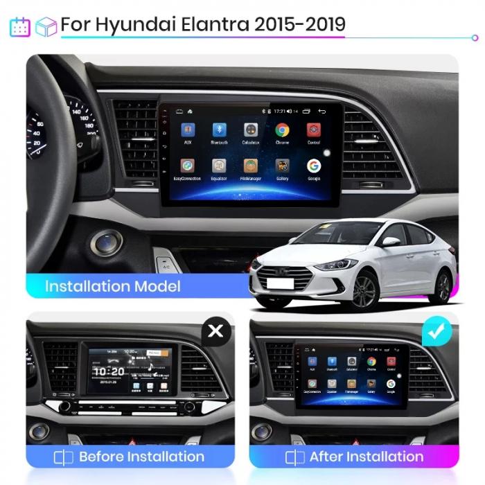 Navigatie Hyundai Elantra ( 2015 - 2019 ) , Android , Display 9 inch , 2 GB RAM si 32 GB ROM , Internet , 4G , Aplicatii , Waze , Wi Fi , Usb , Bluetooth , Mirrorlink [1]
