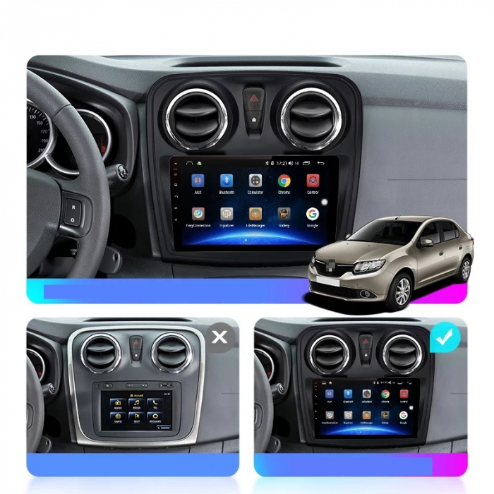 Navigatie Dacia Logan 2 Sandero ( 2012 - 2019 ) , Android , Display 9 inch , 2 GB RAM si 32 GB ROM , Internet , 4G , Aplicatii , Waze , Wi Fi , Usb , Bluetooth , Mirrorlink [3]