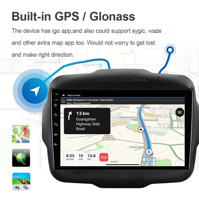 Navigatie Jeep Renegade ( 2015 -2021 ) , 4 GB RAM + 64 GB ROM , Slot Sim 4G pentru Internet , Carplay , Android , Aplicatii , Usb , Wi Fi , Bluetooth 3