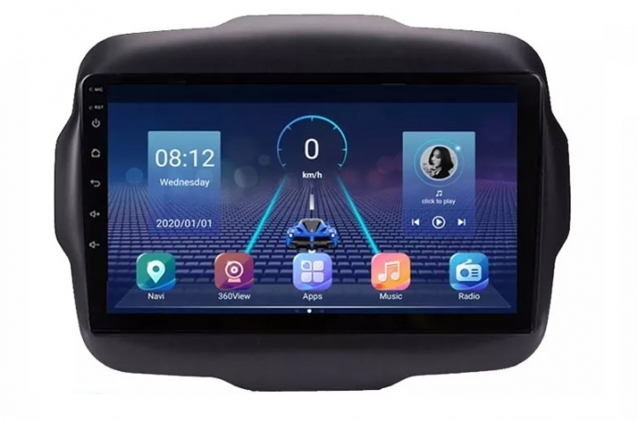 Navigatie Jeep Renegade ( 2015 - 2021 ) , Android , Display 9 inch , 2GB RAM +32 GB ROM , Internet , 4G , Aplicatii , Waze , Wi Fi , Usb , Bluetooth , Mirrorlink 4