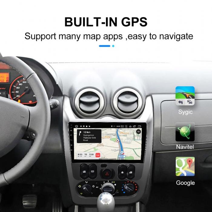 Navigatie Dacia Logan ( 2009 - 2016 ) , 4 GB RAM + 64 GB ROM , Slot Sim 4G pentru Internet , Carplay , Android , Aplicatii , Usb , Wi Fi , Bluetooth [4]