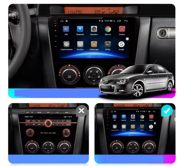 Navigatie Mazda 3 ( 2003 - 2010 ) , Android , Display 9 inch , 2GB RAM +32 GB ROM , Internet , 4G , Aplicatii , Waze , Wi Fi , Usb , Bluetooth , Mirrorlink 2