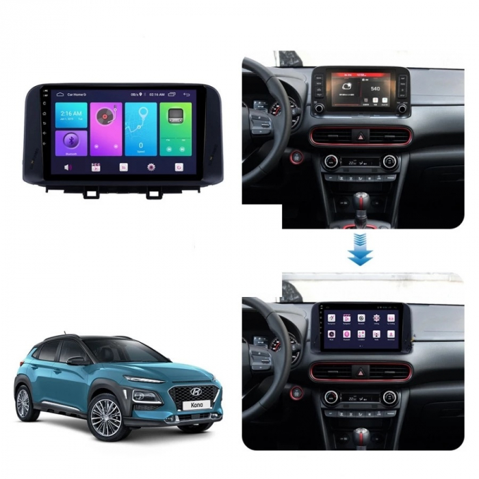 Navigatie Hyundai Kona ( 2018 + ) , Android , Display 9 inch , 2 GB RAM si 32 GB ROM , Internet , 4G , Aplicatii , Waze , Wi Fi , Usb , Bluetooth , Mirrorlink [3]
