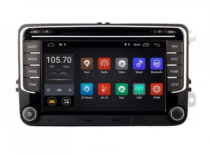 Navigatie VW Golf 5 6 Passat B6 B7 CC Eos Tiguan Touran Jetta Polo Sharan Amarok Caddy , 4 GB RAM + 64 GB ROM , Slot Sim 4G pentru Internet , Carplay , Android Usb , Wi Fi , Bluetooth [0]