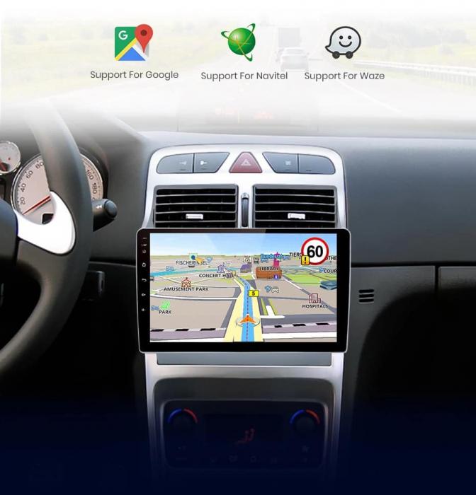 Navigatie Peugeot 307 ( 2002 - 2013 ) , 4 GB RAM + 64 GB ROM , Slot Sim 4G pentru Internet , Carplay , Android , Aplicatii , Usb , Wi Fi , Bluetooth 4