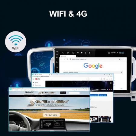 Navigatie KIA Sportage ( 2016 + ) , 4 GB RAM + 64 GB ROM , Slot Sim 4G pentru Internet , Carplay , Android , Aplicatii , Usb , Wi Fi , Bluetooth4