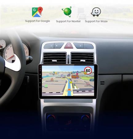 Navigatie Peugeot 307 ( 2002 - 2013 ) , 4 GB RAM + 64 GB ROM , Slot Sim 4G pentru Internet , Carplay , Android , Aplicatii , Usb , Wi Fi , Bluetooth4