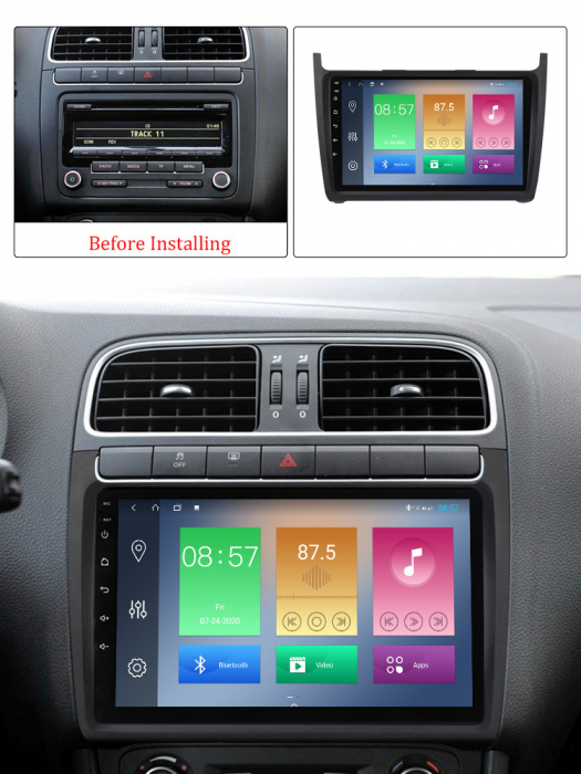 Navigatie Volkswagen Polo 2012-2015, NAVI-IT, 9 Inch, 2GB RAM 32GB ROM, Android 9,1, WiFi, Bluetooth, Magazin Play, Camera Marsarier [4]