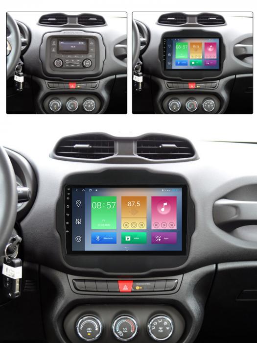 Navigatie Jeep Renegade 2016-2018, NAVI-IT, 9 Inch, 2GB RAM 32GB ROM, Android 9.1, WiFi, Bluetooth, Magazin Play, Camera Marsarier [3]