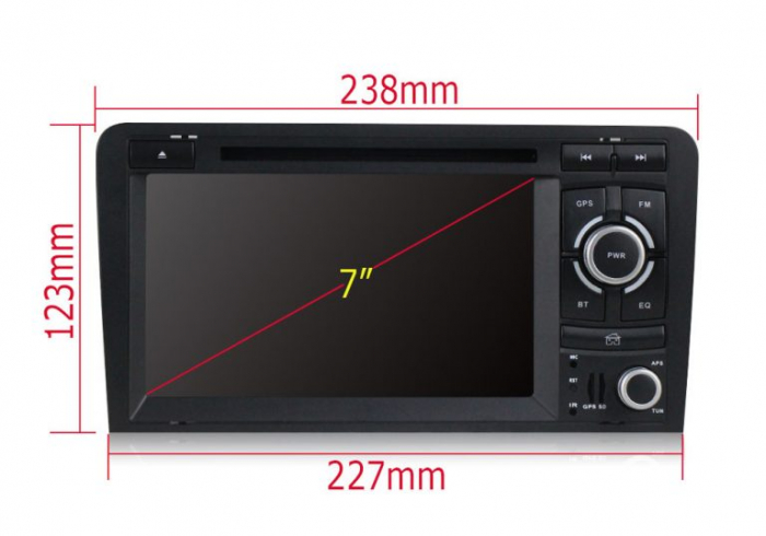 Navigatie auto dedicata Audi A3/S3 (2003-2013) 2 GB RAM, 32 ROM ,Android 10, 7 inch, 2/16GB DSP 9