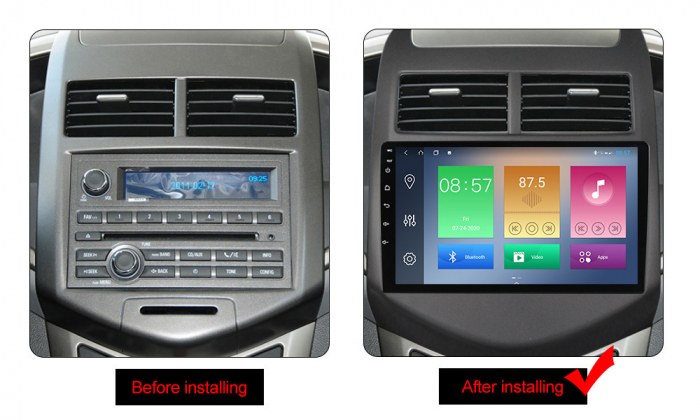 Navigatie Chevrolet Aveo 2010-2015, NAVI-IT, 9 Inch, 4GB RAM 64GB ROM, IPS, DSP, RDS, 4G, Android 10 , WiFi, Bluetooth, Magazin Play, Camera Marsarier [1]