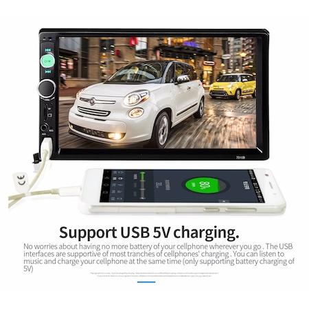 Mp3, Mp5 player auto 7010b 2 DIn, ecran 7 inch touchscreen mirrorlink cu camera marsarier si rama + Telecomanda NAVI-IT pentru comenzi volan mp5 player 7010B, 7012b, 7018b infrarosu [0]
