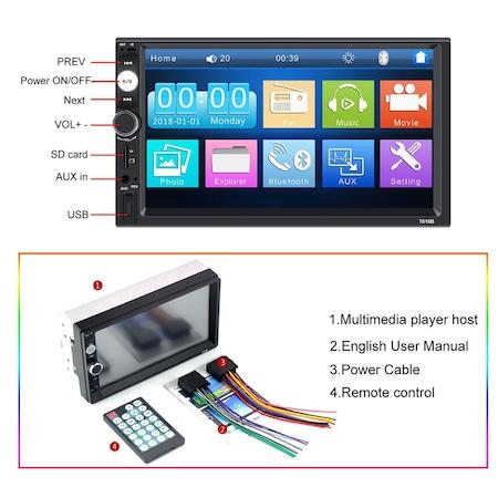 Navigatie MirrorLink mp5 player auto 7010B, Rama 2Din, Suporti prindere,camera marsarier 8 led night-vision, adaptor comenzi volan, Bluetooth, Divix , AVI , USB , SD Card , AUX 1