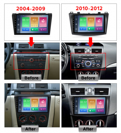 Navigatie Mazda 3 2004-2009, NAVI-IT, 9 Inch, 1GB RAM 16GB ROM, Android 9.1, WiFi, Bluetooth, Magazin Play, Camera Marsarier [4]