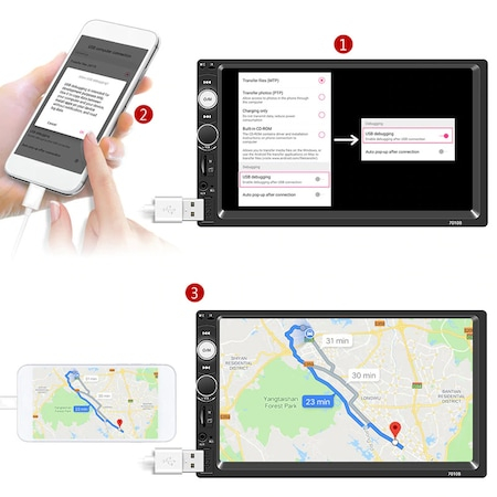 Navigatie MirrorLink mp5 player auto 7010B, Rama 2Din, Suporti prindere,camera marsarier 8 led night-vision, adaptor comenzi volan, Bluetooth, Divix , AVI , USB , SD Card , AUX3