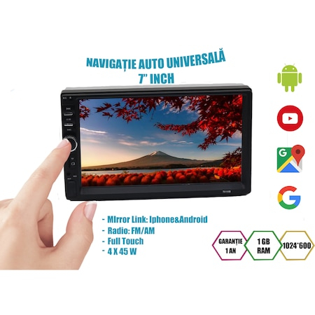Navigatie NAVI-IT, 1GB RAM 16GB ROM, 7 inch Android 9.1 Vw , Nissan , Opel , Ford Wifi , Bluetooth , Waze, conectori Iso microfon extern, suporti prindere4