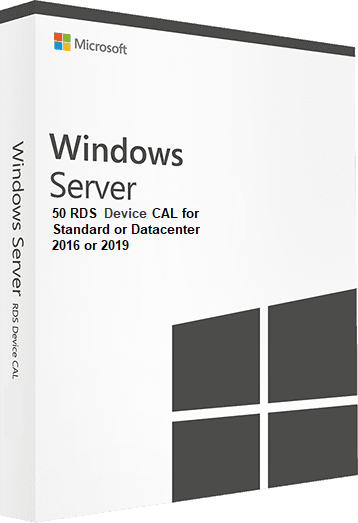 Microsoft Windows Server 2016 or 2019, Standard or Datacenter - 50 RDS Device CAL 0