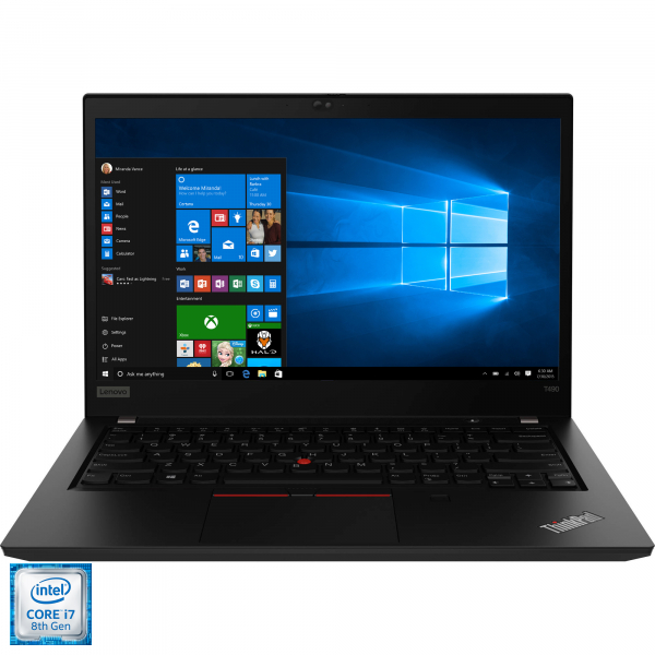 "Laptop ultraportabil Lenovo ThinkPad T490 cu procesor Intel® Core™ i7-8565U pana la 4.60 GHz, Whiskey Lake, 14"", Full HD, IPS, 8GB, 256GB SSD, Intel® UHD Graphics 620, Microsoft Windows 10 Pro, Black 2"