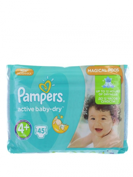 Pampers Active Baby Dry nr.4+ Maxi 9-16 kg 45 buc 0