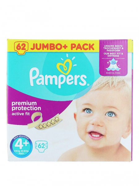 Pampers Active Fit 4+ Maxi+ 9-18 kg 62 buc Premium Protection 0