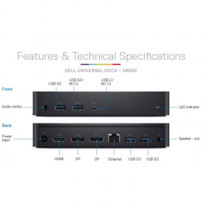 Docking Station Dell Dock Universal D6000, USB 3.0, 130W0