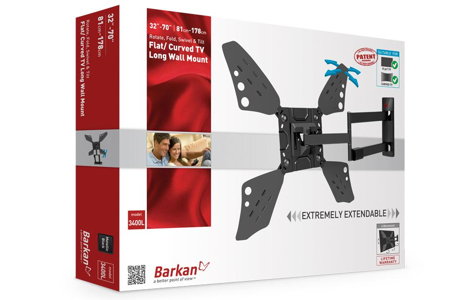 "Barkan Full Motion TV Wall Mount 40""-70"" 0"