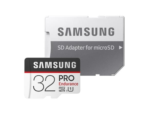Card memorie Samsung MB-MJ32GA/EU  ,  Micro-SDXC,  PRO Endurance,  32GB, rata transfer r/w 100/30 MB/s, Class 10, UHS-I,  (Adaptor SD inclus), Proiectat pentru camere de supraveghere/securitate (dash  2