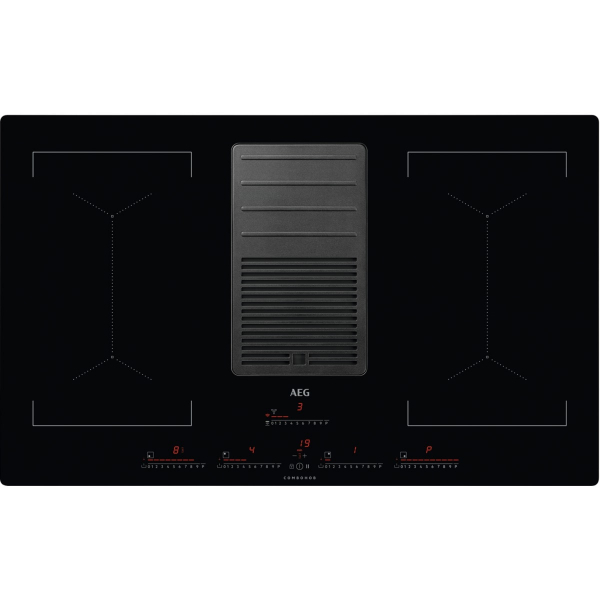 Plită inducţie cu hotă integrată ComboHob 630 mc/h 83 cm negru 0