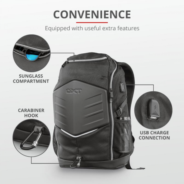"""Trust GXT 1255 Outlaw Backpack Black 15"""" 8"""
