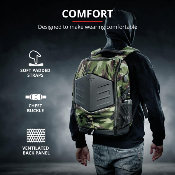 """Trust GXT 1255 Outlaw Backpack Camo 15"""" 9"""