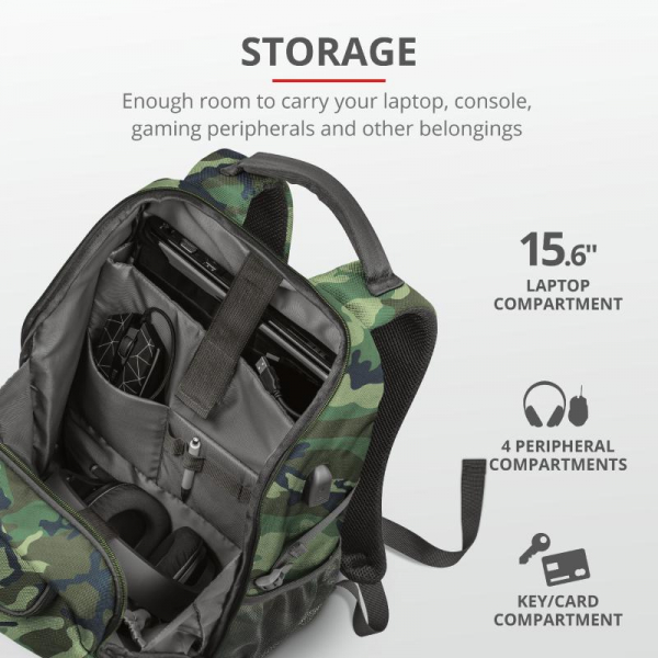 """Trust GXT 1255 Outlaw Backpack Camo 15"""" 4"""