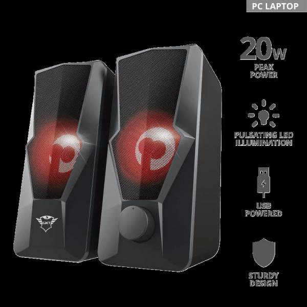 Trust GXT 610 Argus Red LED 2.0 Speaker 1