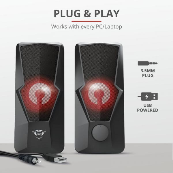 Trust GXT 610 Argus Red LED 2.0 Speaker 4