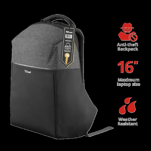 "Trust Nox Anti-theft Backpack 16"" Black 1"