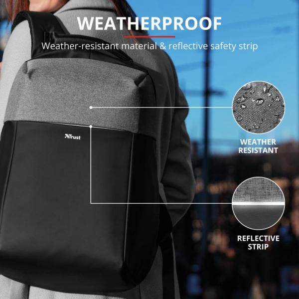 "Trust Nox Anti-theft Backpack 16"" Black [7]"
