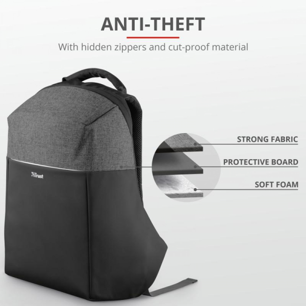 "Trust Nox Anti-theft Backpack 16"" Black 3"