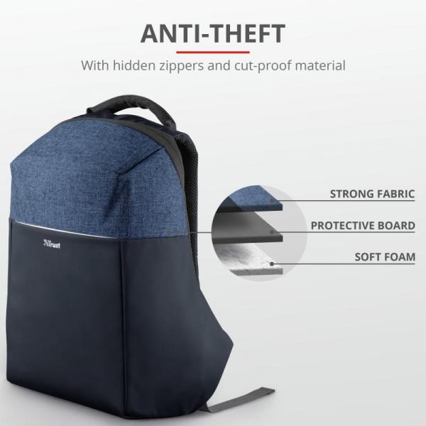 "Trust Nox Anti-theft Backpack 16"" Blue [2]"