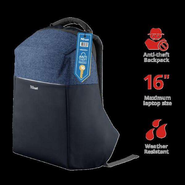 "Trust Nox Anti-theft Backpack 16"" Blue [1]"